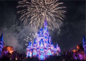 Imagem do castelo da Disney com o show de fogos
