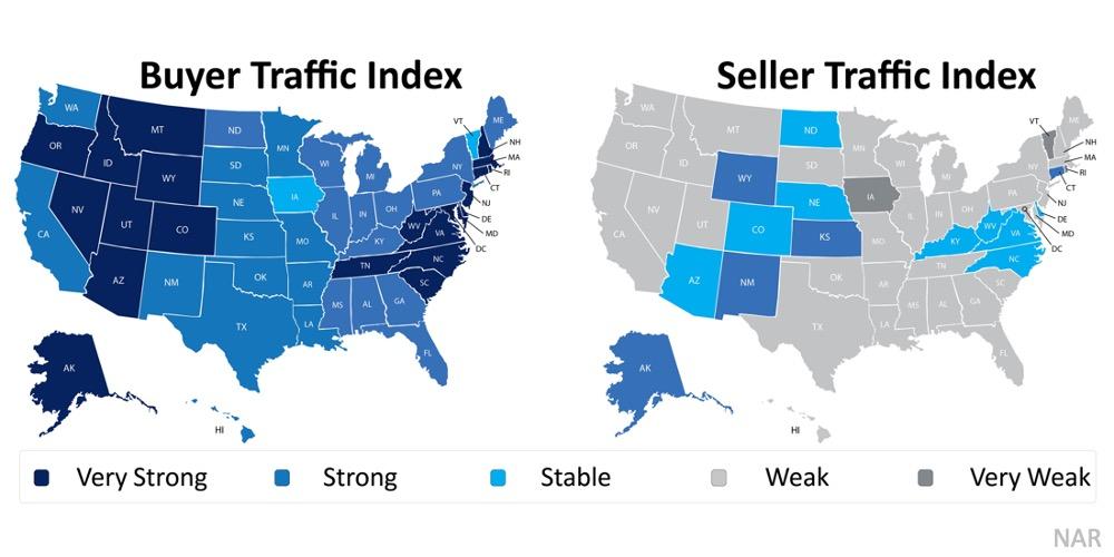 Mapa dos Estados Unidos, comparando o mercado de compradores versus o de vendedores.